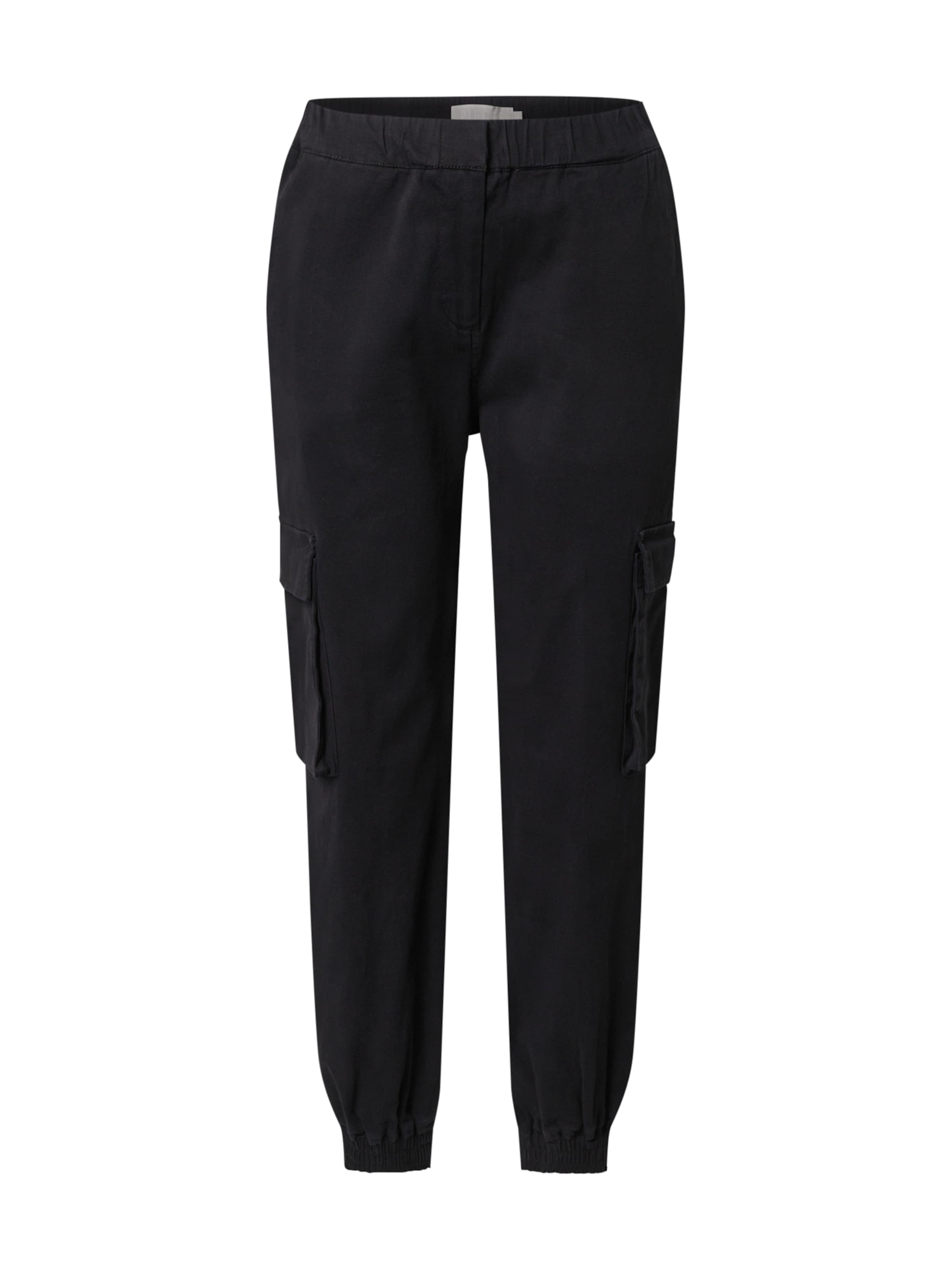 PIECES Cargo nadrágok fekete színben