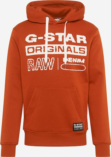 G-Star RAW Sweat-shirt en orange foncé / blanc: Vue de face