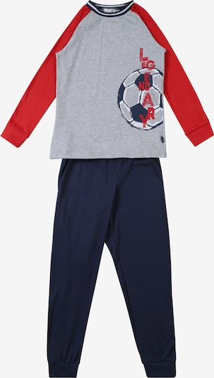 SCHIESSER Schlafanzug in nachtblau / grau / rot, Produktansicht