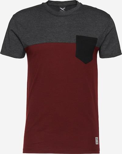 Tricou Iriedaily pe gri închis / roșu vin: Privire frontală