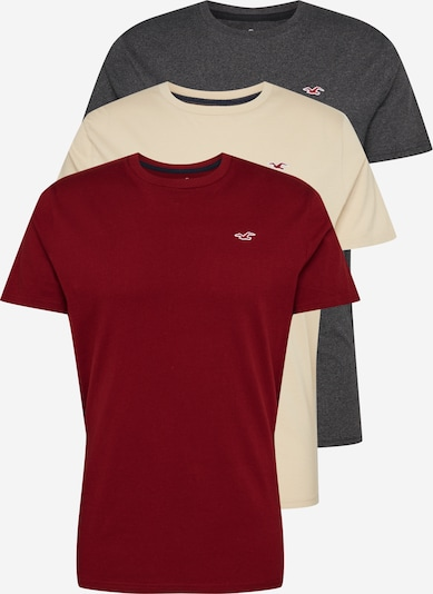 HOLLISTER Shirt 'SEASONAL CREW MULTI' in beige / anthrazit / bordeaux, Produktansicht