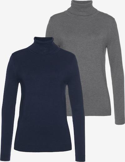 FLASHLIGHTS Rollkragenpullover in dunkelblau / grau, Produktansicht
