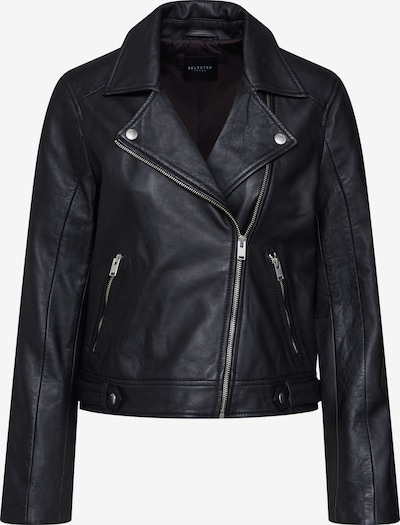 SELECTED FEMME Tussenjas 'SLFKATIE LEATHER JACKET B NOOS' in de kleur Zwart, Productweergave