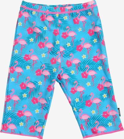 SWIMPY Badehose 'Flamingos' in neonblau / neonpink, Produktansicht