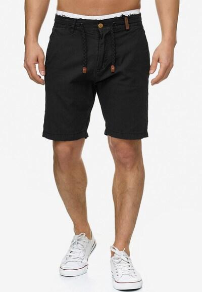 INDICODE JEANS Shorts 'Bowmanville' in schwarz: Frontalansicht