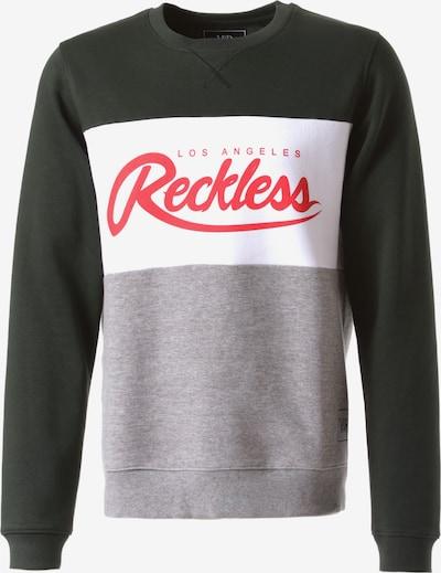 Young & Reckless Sweatshirt 'Opulent Crew' in de kleur Grijs / Donkergrijs / Groen / Donkergroen / Rood, Productweergave