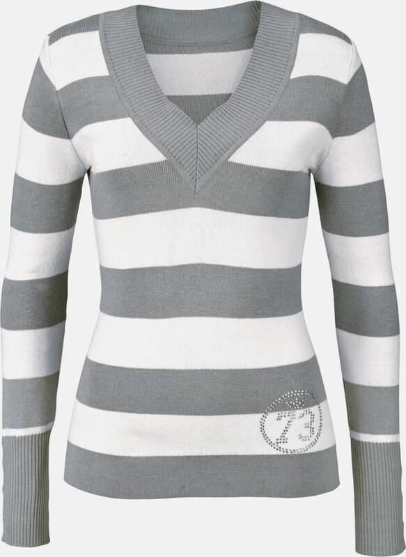 ARIZONA V-Ausschnitt-Pullover in grau   weiß  Neuer Aktionsrabatt