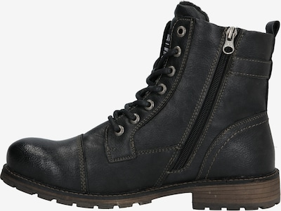 TOM TAILOR DENIM Škornji z vezalkami | črna barva: Pogled od strani