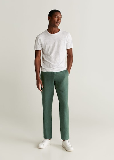 MANGO MAN Hose in dunkelgrün, Modelansicht