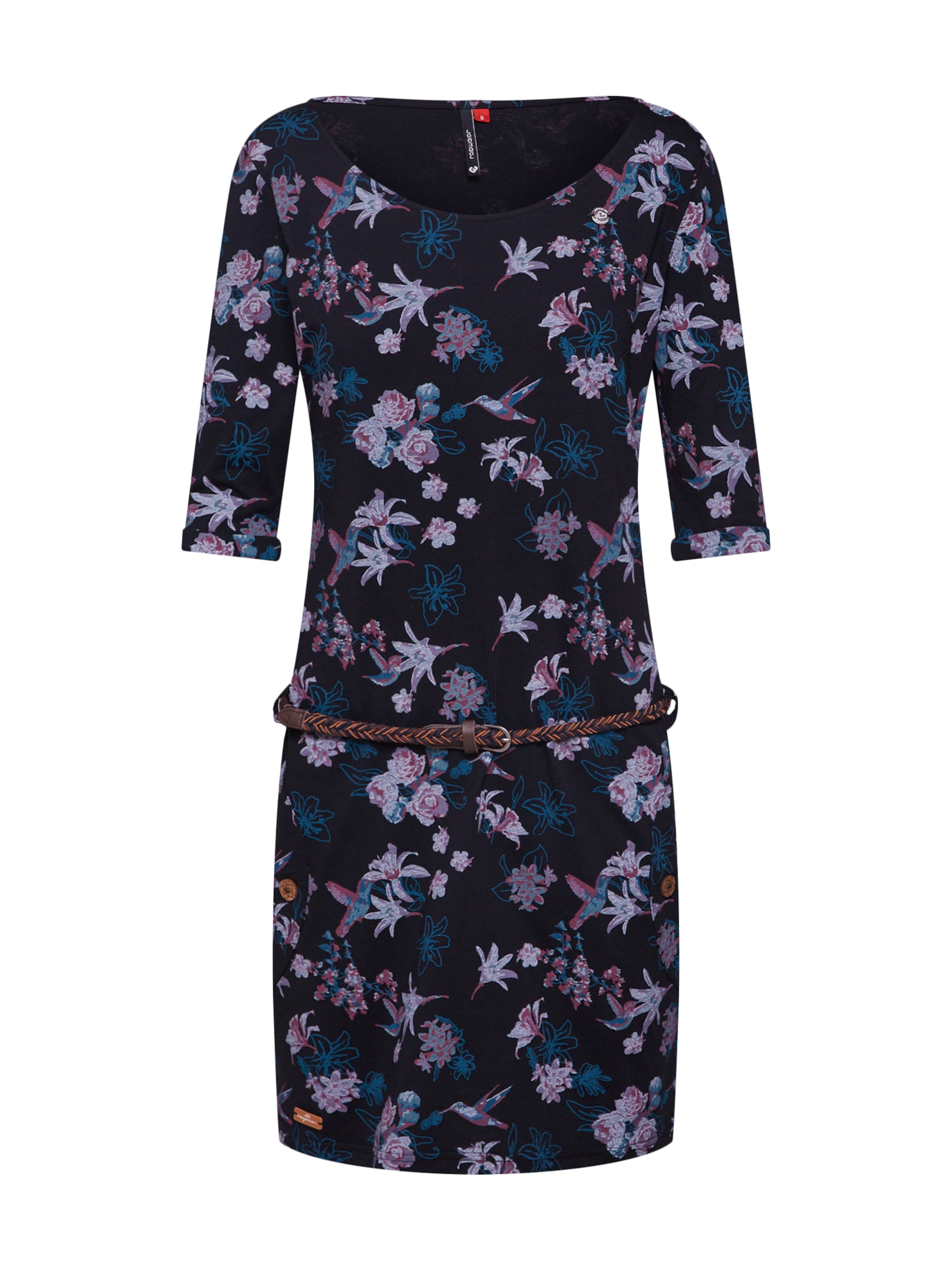 Kleid In Flowers' Schwarz Ragwear BlauDunkellila 'tanya SzUMpV