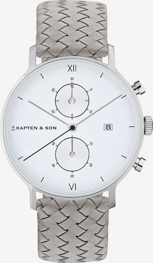Kapten & Son Zegarek analogowy 'Chrono Woven' w kolorze szary / srebrnym, Podgląd produktu