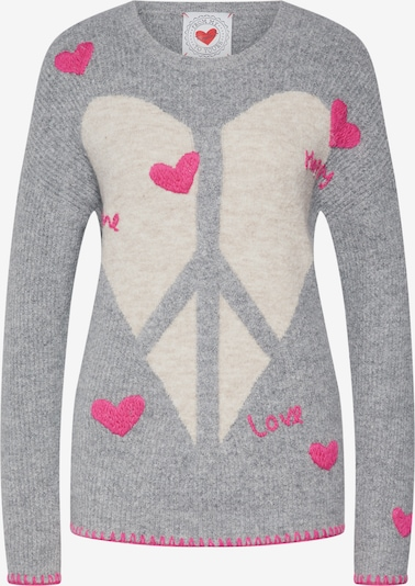 Frogbox Pullover 'Heart peace pullover' in grau, Produktansicht