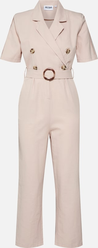 Worst Behavior Jumpsuit 'Bella' in de kleur Beige, Productweergave