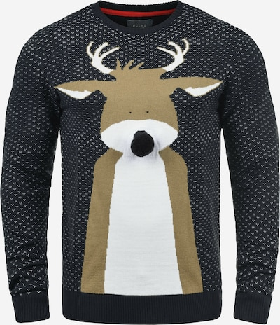 BLEND Strickpullover 'Rudolph' in navy / braun / weiß, Produktansicht