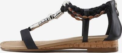 Sandale cu baretă LASCANA pe negru, Vizualizare produs
