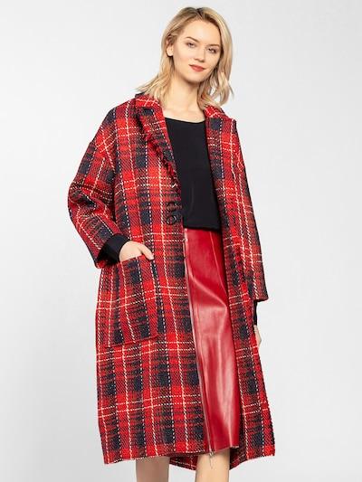 APART Glencheck-Mantel oversized in creme / nachtblau / rot, Produktansicht