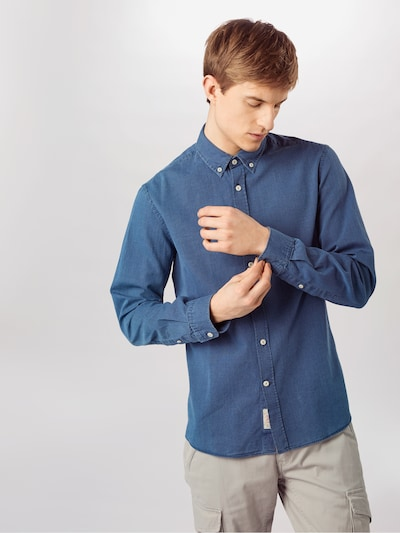HKT by HACKETT Hemd 'HKT INDIGO TEXTURE' in blue denim: Frontalansicht