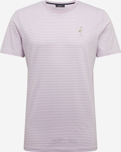 SELECTED HOMME Shirt 'SLHWAYNE STRIPE EMB SS O-NECK TEE B' in de kleur Lavendel / Wit, Productweergave
