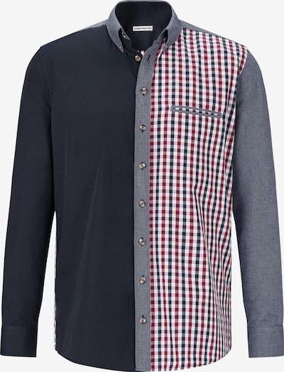 Shirtmaster Overhemd 'Patchworks' in de kleur Nachtblauw / Grijs gemêleerd / Rood / Wit, Productweergave