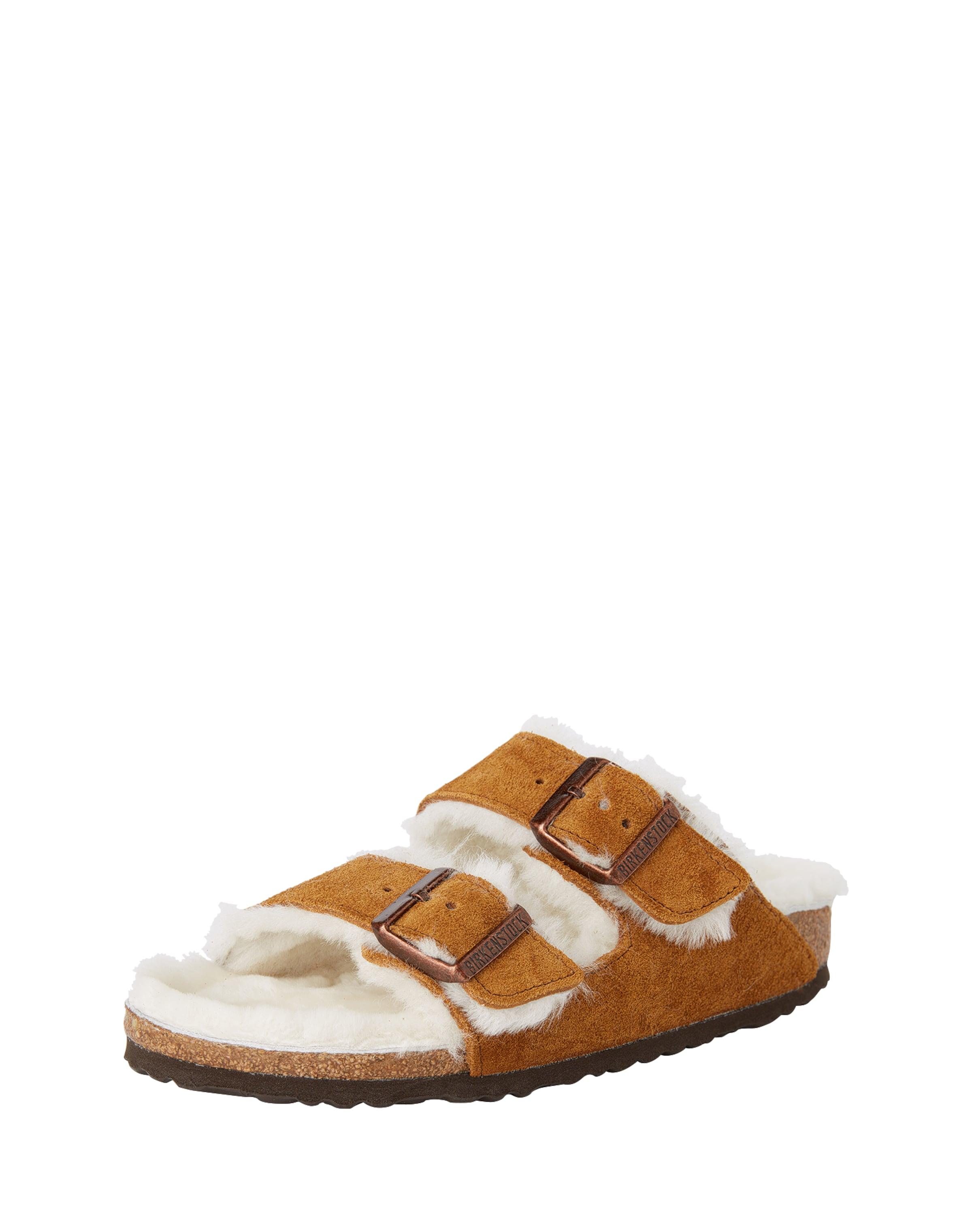 BIRKENSTOCK | Pantoletten mit Fell-Futter 'Arizona' Schuhe Gut getragene Schuhe