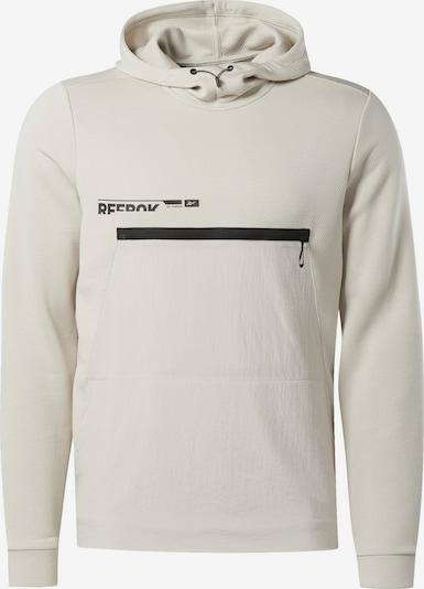 REEBOK Sportsweatshirt in de kleur Beige / Zwart: Vooraanzicht