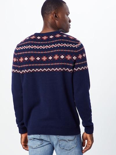 SELECTED HOMME Sweter 'SLHNEWCHRIST CREW NECK W EX' w kolorze granatowy / czerwony / białym: Widok od tyłu