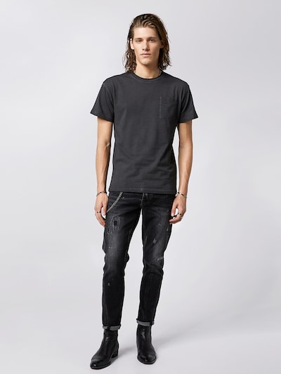 tigha Destroyed Slim Fit Jeans  ' Billy the kid 9974 repaired ' in grau, Modelansicht