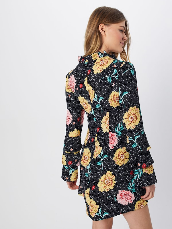 'polka Floral Dress' Dot D'été JauneRose Noir Neck Robe Missguided High En 3R4A5jL