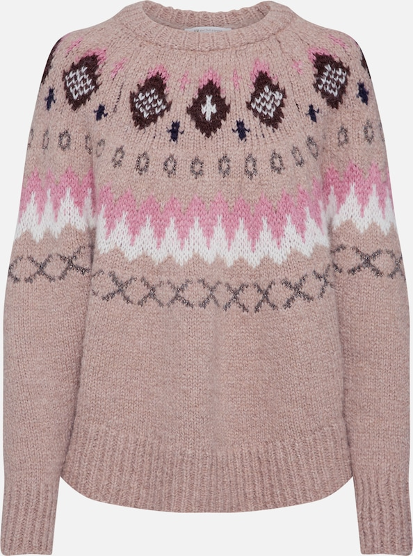 Rich & Royal Trui 'Crew Neck Fair Isle Look' in de kleur Beige / Pink / Rosa, Productweergave