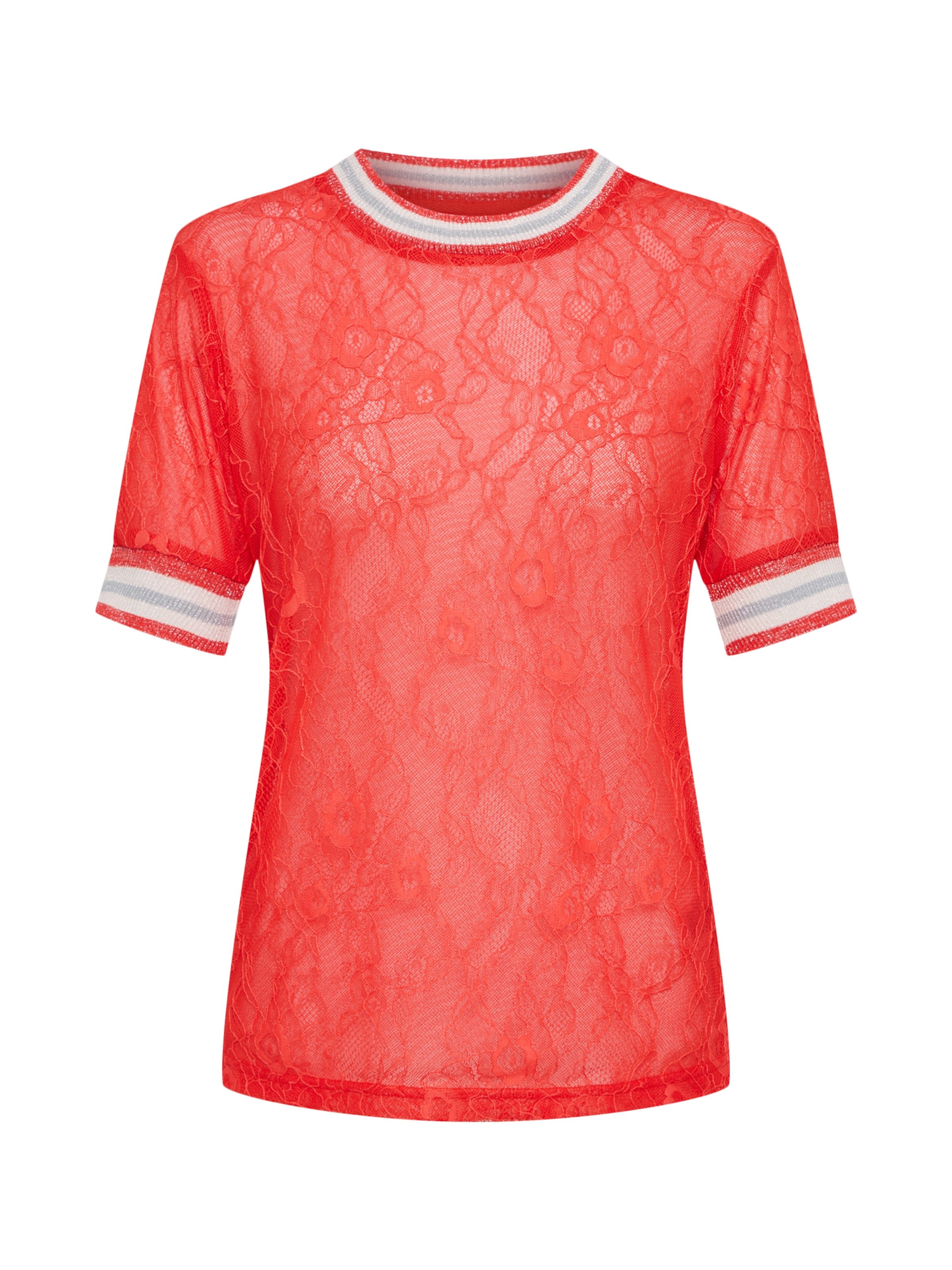 'sporty Lace Spitzenshirt Review In Tee' Rot T1JclFK