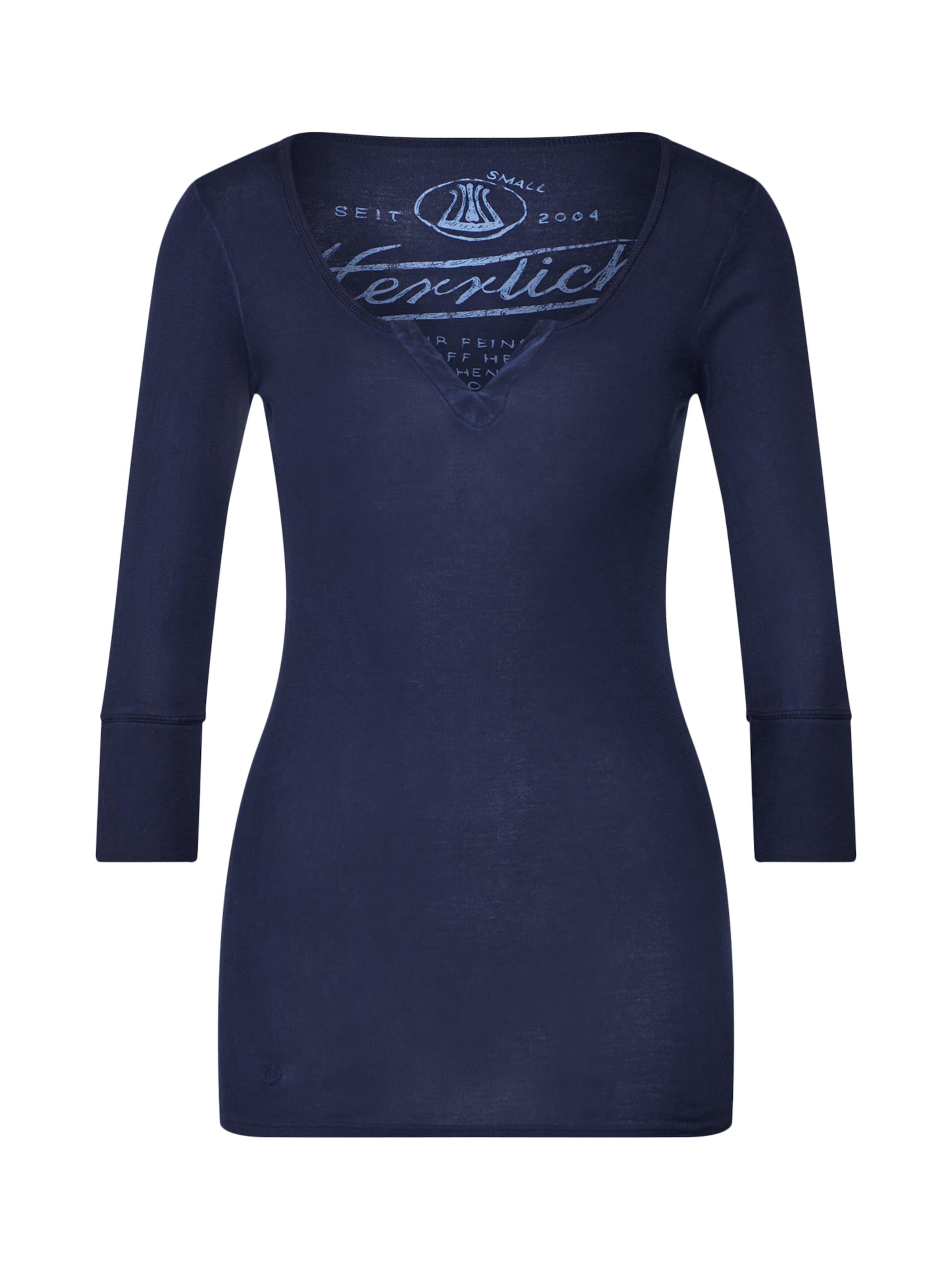 Herrlicher In Micro Rib' Blau 'safia Shirt Onvm8N0w