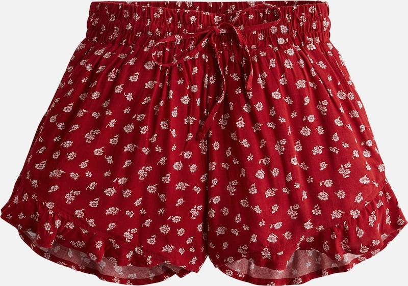 HOLLISTER Shorts 'SOFT PULL ON RUFFLE' in rot / weiß, Produktansicht