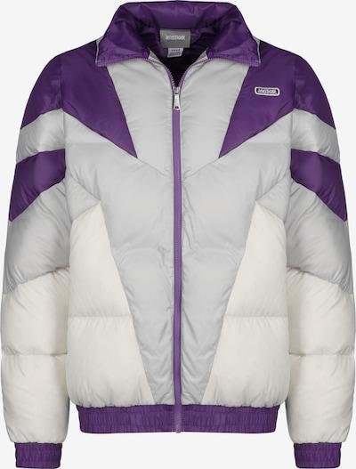 ASICS SportStyle Winterjas ' Sportswear ' in de kleur Grijs / Donkerlila / Wit, Productweergave