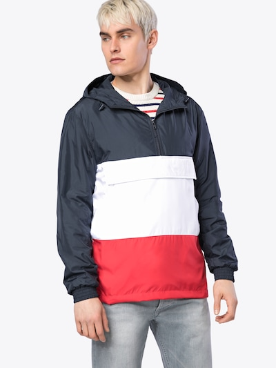 Urban Classics Jacke 'Color Block Pullover Jacket' in navy / rot / weiß: Frontalansicht
