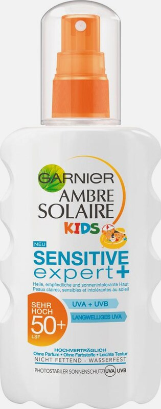 GARNIER Ambre Solaire Kids Sensitive Expert LSF 50+, Sonnenspray in orange / weiß, Produktansicht
