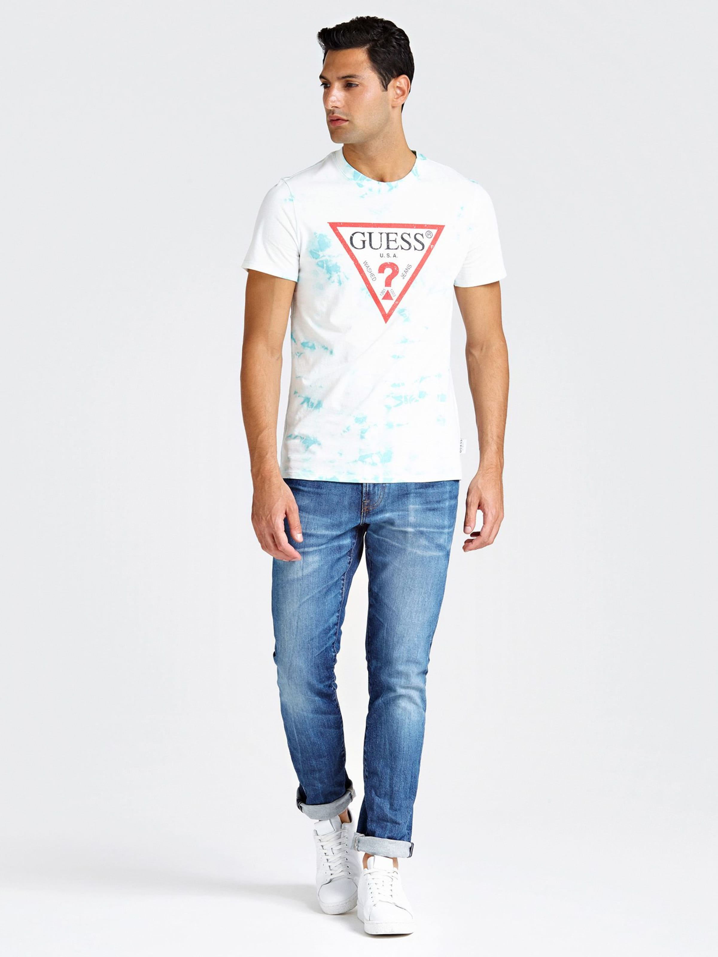 'distressed' 'distressed' TürkisWeiß Guess In 'distressed' Shirt Guess Shirt TürkisWeiß Shirt In Guess PXZikuO