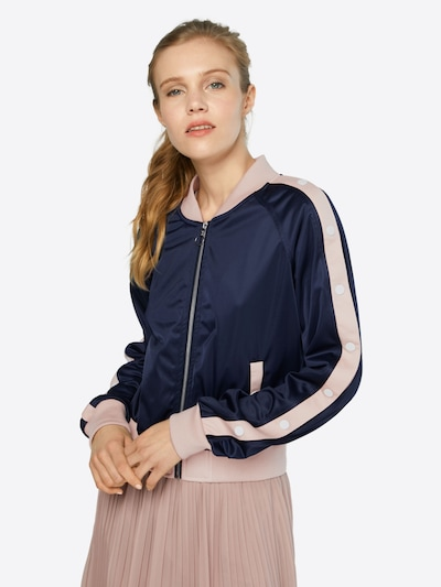 Urban Classics Jacket 'Button Up Track' in navy / hellpink: Frontalansicht