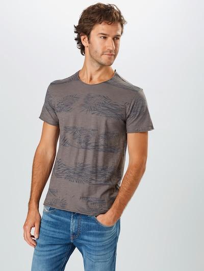 INDICODE JEANS T-Shirt 'Allen' en bleu-gris / gris foncé: Vue de face