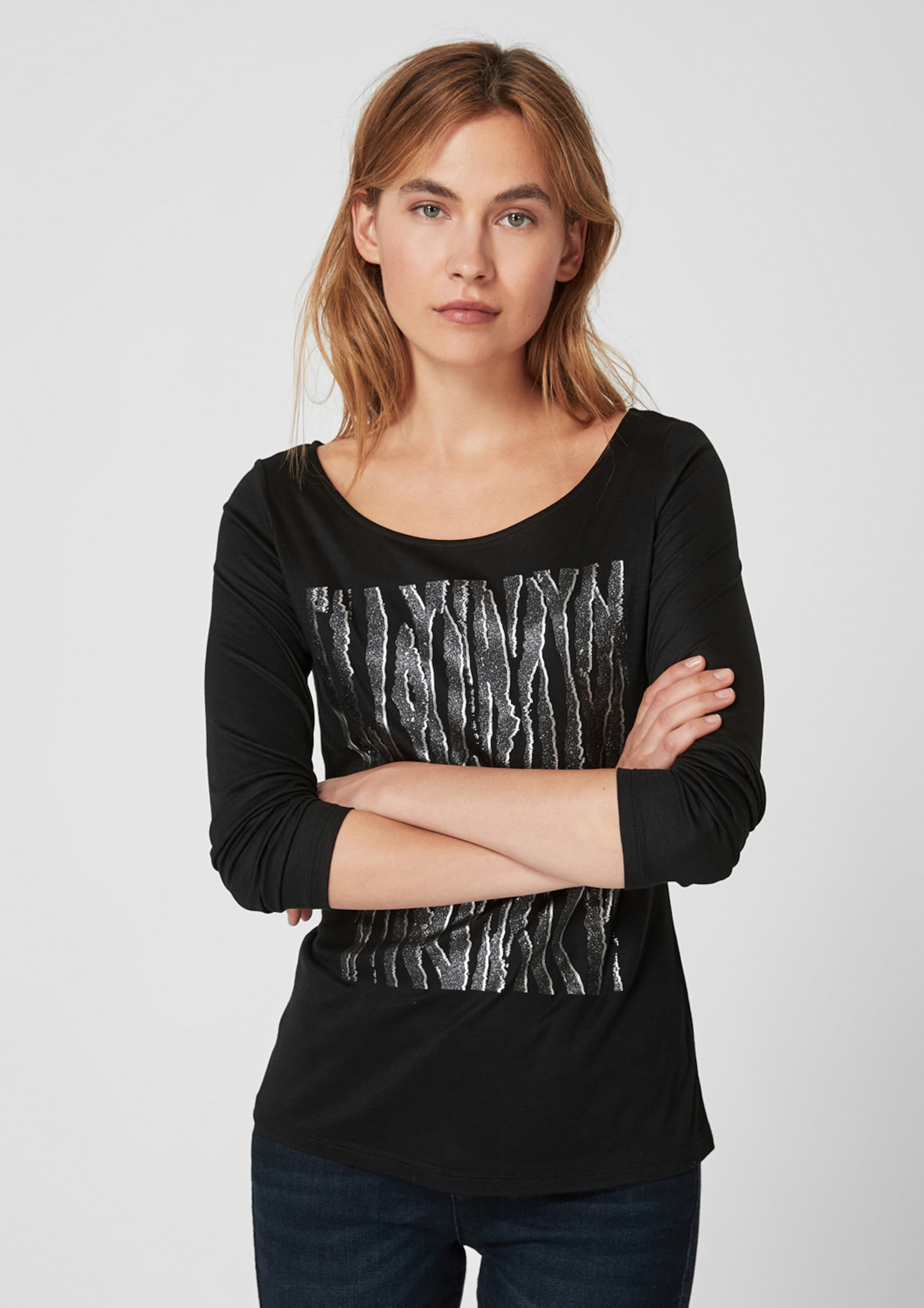 oliver S Weiß SilbergrauSchwarz Black In Label Shirt orCtxshQBd