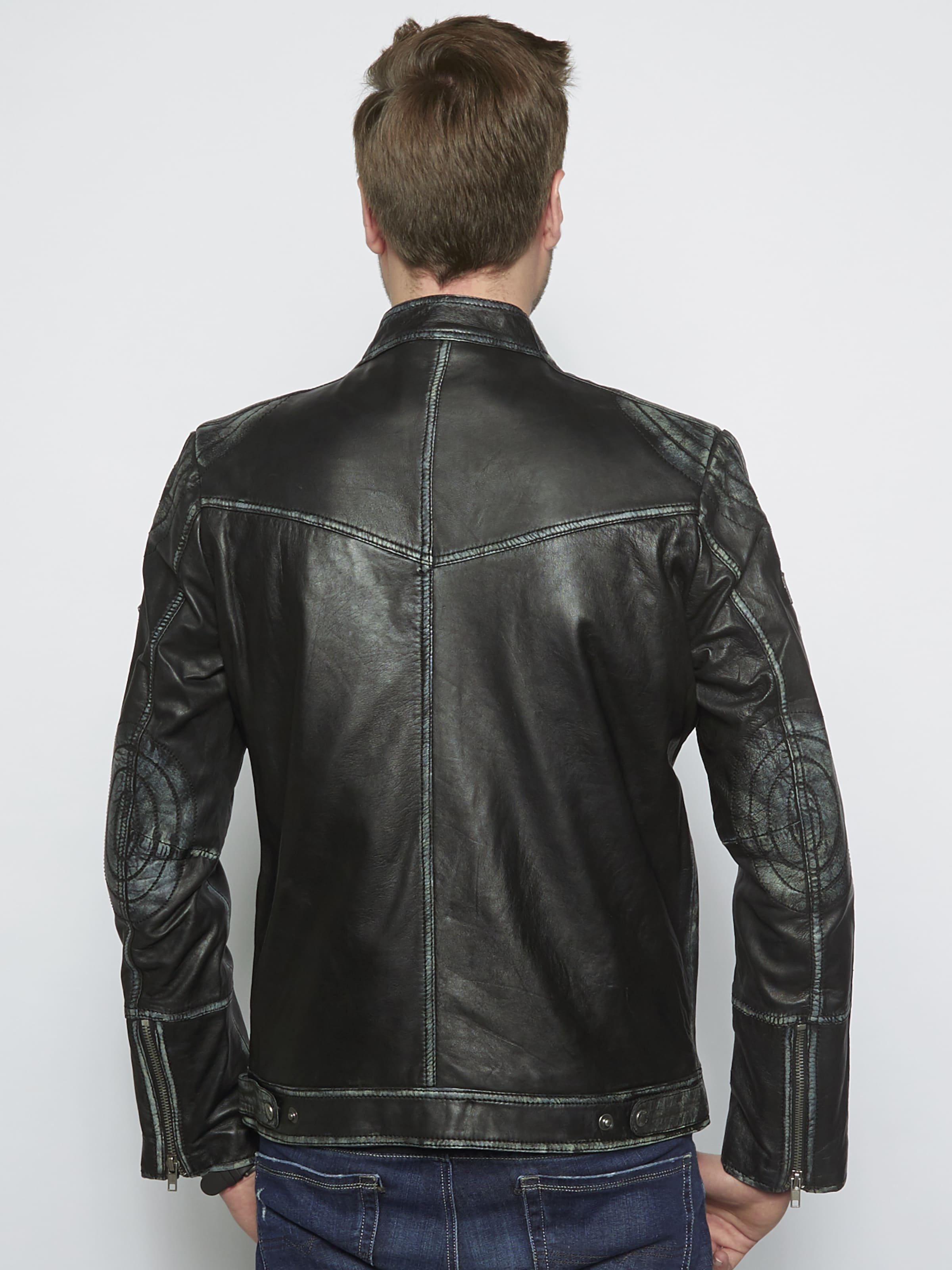 'uwe ' Schwarz In Mustang Lederjacke bv7Yfy6g
