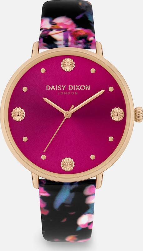 DAISY DIXON Uhr in rosegold / cyclam / schwarz: Frontalansicht