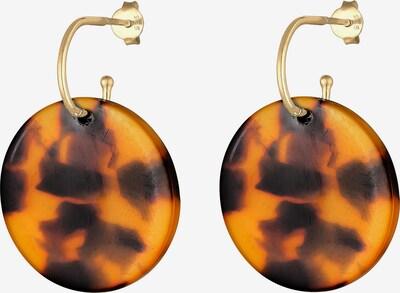 ELLI Ohrringe 'Geo' in braun / goldgelb, Produktansicht