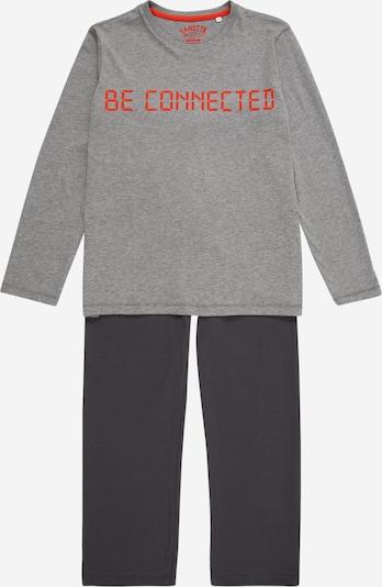 SANETTA Pyjama in nachtblau / graumeliert / rot, Produktansicht