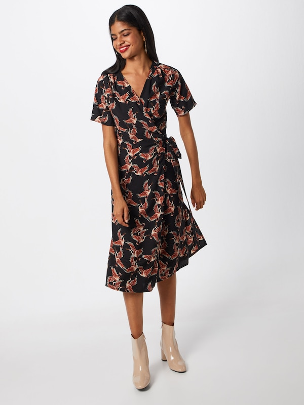 Mela Style Dress' 'kimono OrangéNoir London Wrap Rouge Robe En nP80wOkX