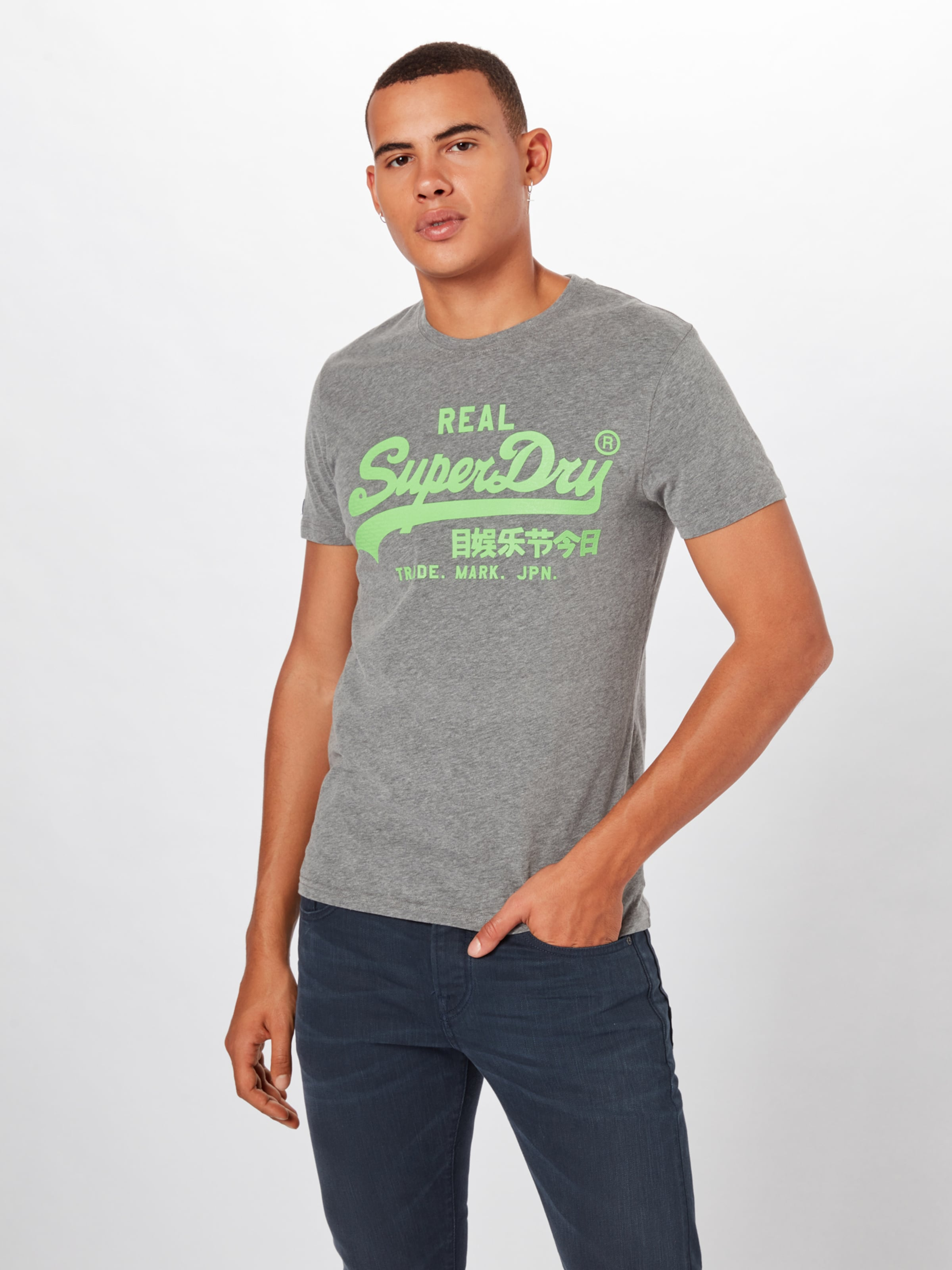 T En Fluo GrisVert Logo Superdry 'vintage shirt Neon Lite' ZuwPkiTXOl