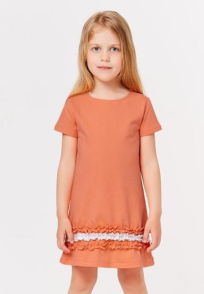 myMo KIDS Kleid in koralle / weiß: Frontalansicht