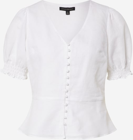 Banana Republic Blouse 'SS COVERED BUTTON FRONT TOP SOLID LINEN' in de kleur Wit, Productweergave