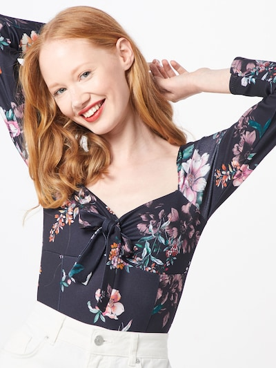 Missguided Shirtbody 'FLORAL MILKMAID LONG SLEEVE BODYSUIT' in schwarz: Frontalansicht