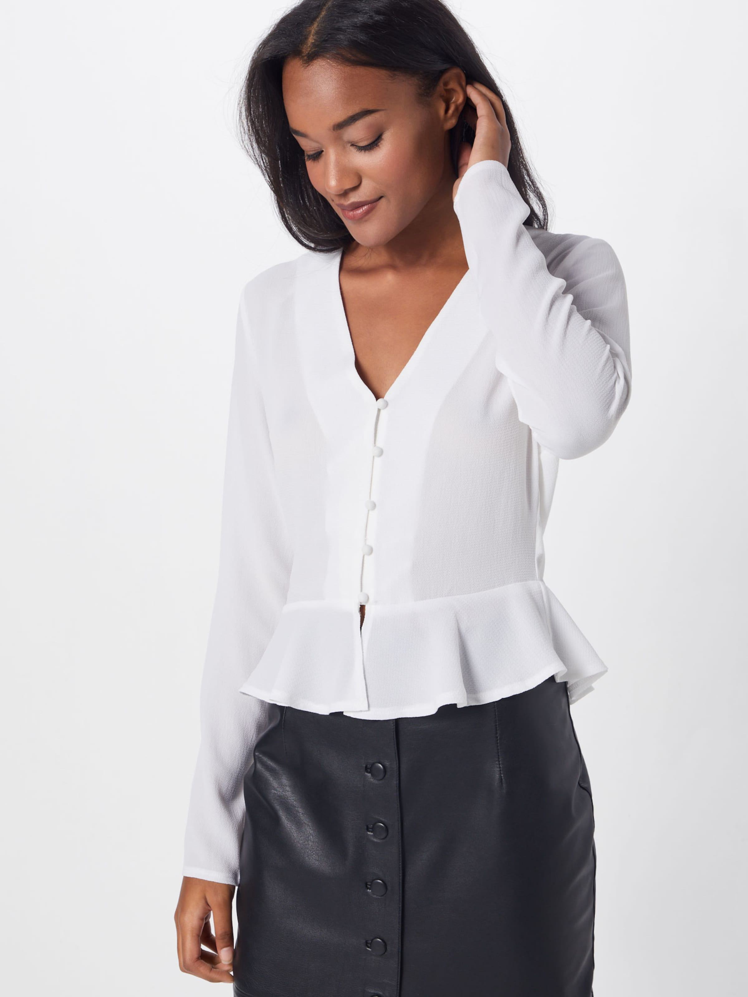 'long Peplum Sleeve Weiß Top' In Bluse Missguided Button dxChQBtsr