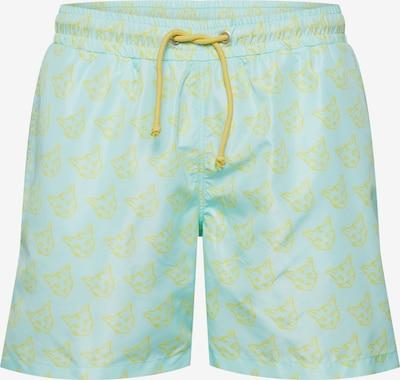 ABOUT YOU X PARI Shorts de bain 'Taylor' en turquoise / jaune, Vue avec produit